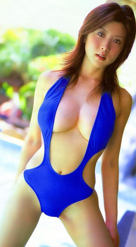 Sexy blue Japanese monokini bathing suit